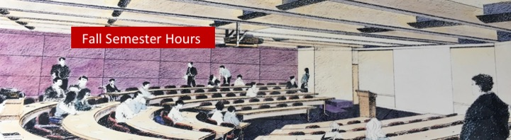 Drawing of law school classroom, link to hours