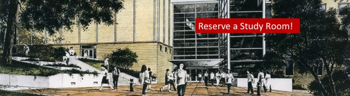 Drawing of south exterior law building entrance; link to study room reservation system