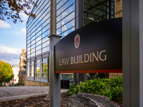 UW Law Building in fall, exterior