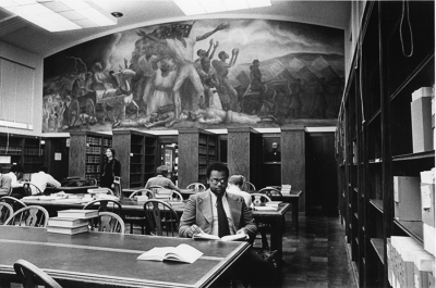 The Curry mural and law students studying in the 1970s.