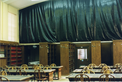 The Curry mural covered for protection during construction at the law school, mid-1990s.