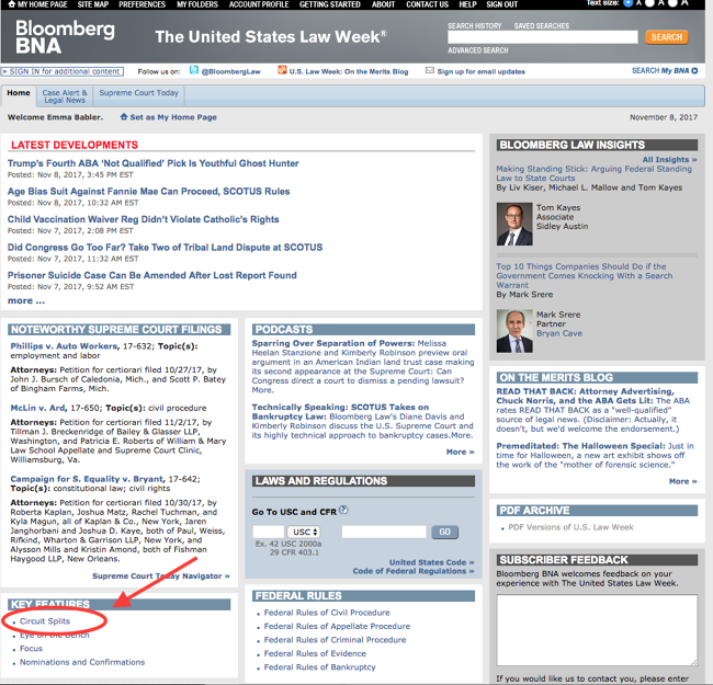 """Screenshot of the front page of """"The Law Week Reports"""" on Bloomberg BNA, with an arrow indicating where to click for the circuit split reports."""