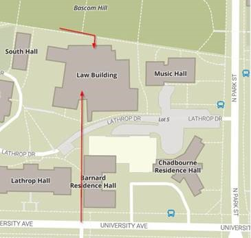 map of law building surrounding area showing the two entrance options