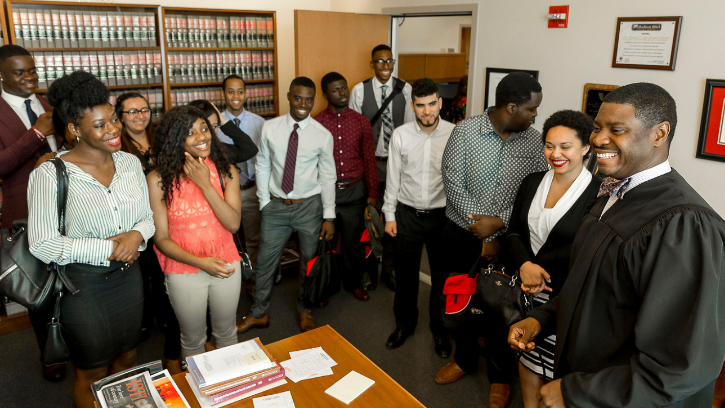 prelaw students with judge