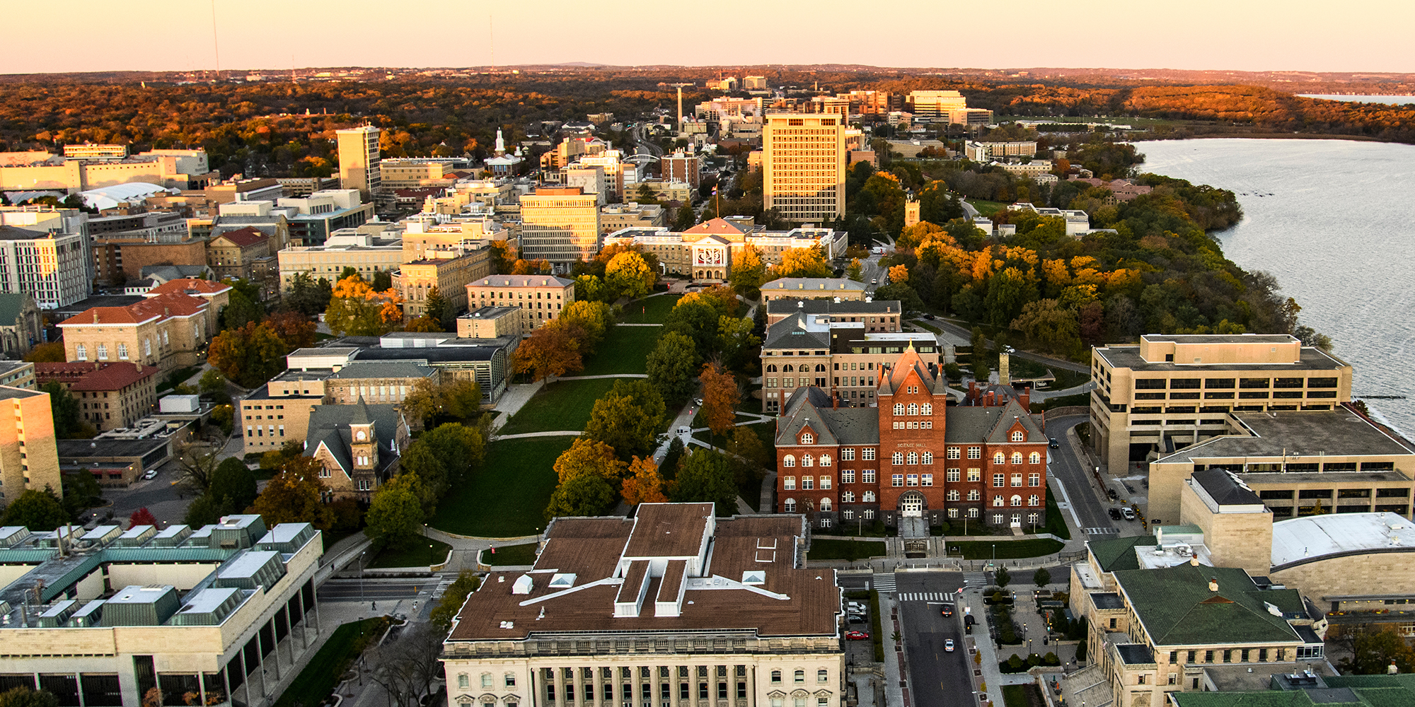 Aerial shot of the UW campus, including Bascom Hill and the Law School