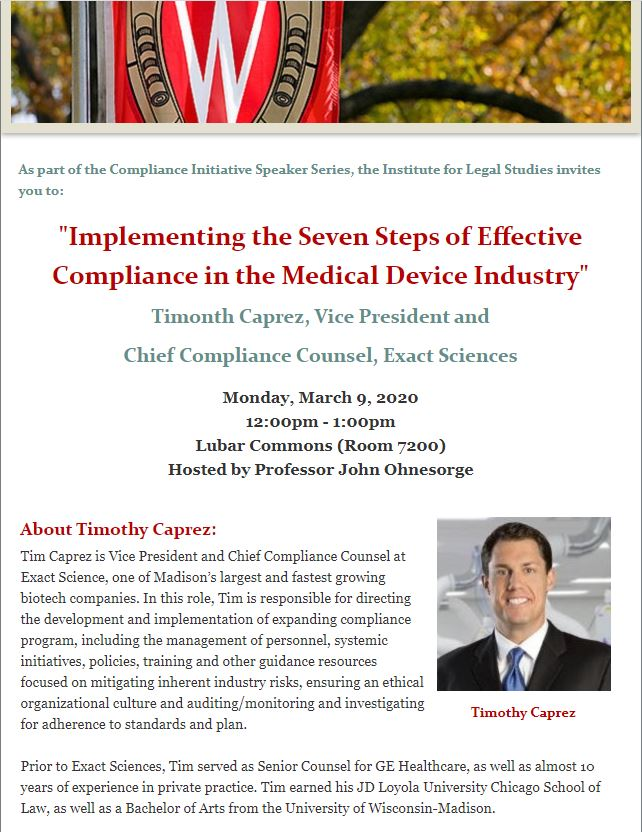 Compliance Initiative Poster. Poster includes photo of the speaker and a description of the event.