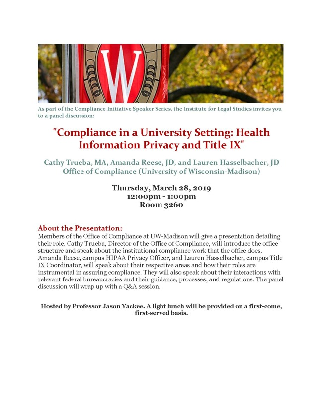 Compliance Initiative Poster for housing and Title IX compliance event