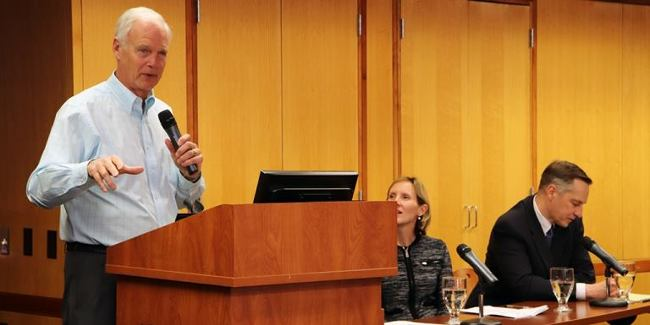 Photo of Sen. Johnson giving a talk