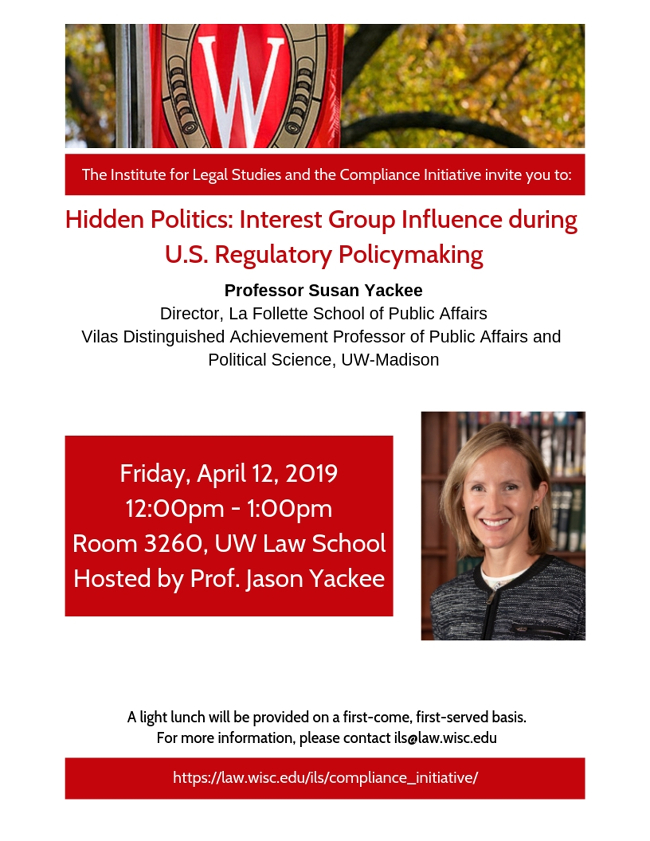 Compliance Initiative Poster for Prof. Yackee event