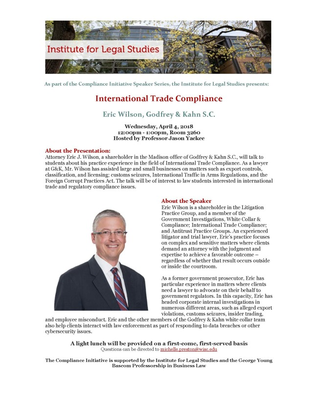 Compliance Initiative Poster for international trade compliance