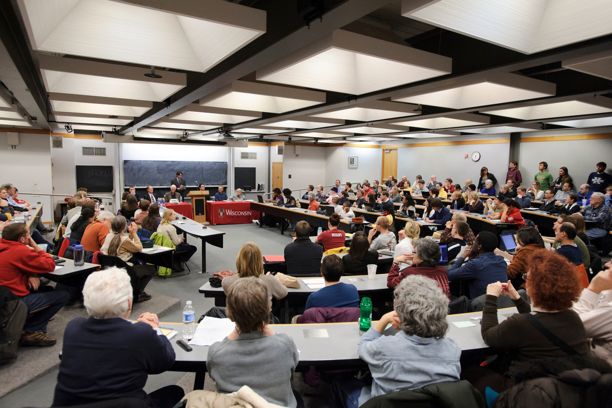 Godfey and Kahn Hall filled with people for a talk