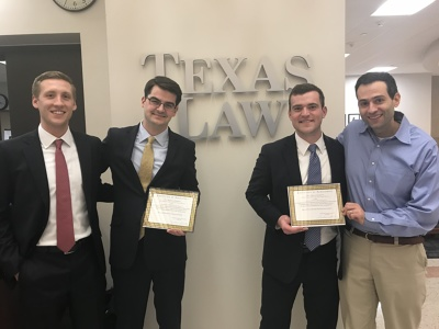 UW Law students Justin Top, Nick Behrens, and Connor Slivocka pictured with Professor Yaron Nili.