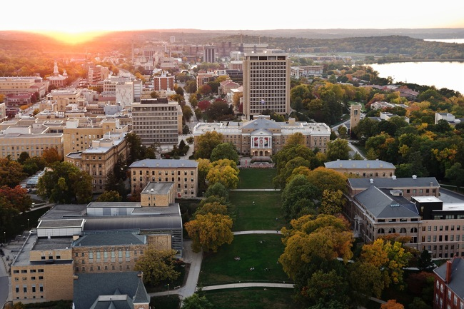 Aerial view of UW Madison campus