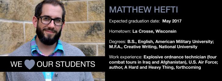 We 'Heart' Our Students: Matthew Hefti