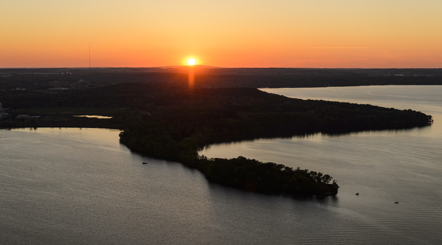 aerial shot of picnic point and the land north of Madison