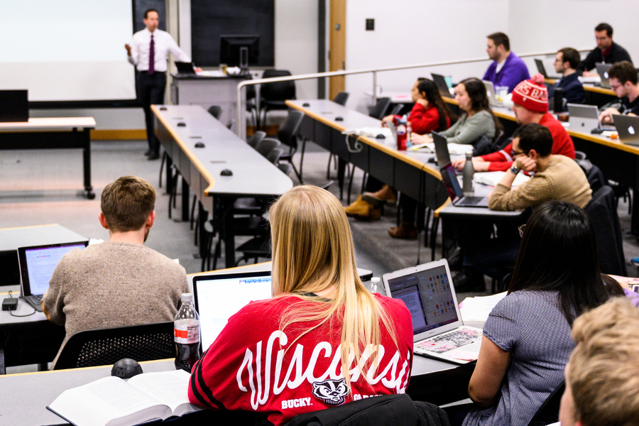 students in class with Professor Rob Yablon