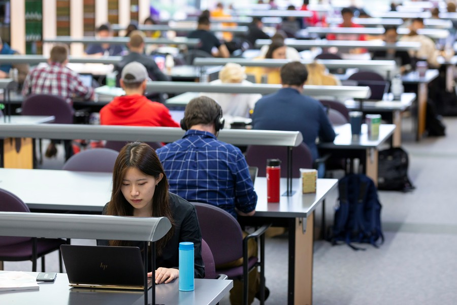 Students studying in the main reading room of the Law Library
