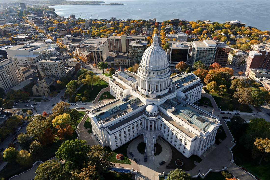 aerial view of the Madison Capitol