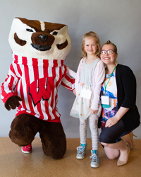 Bucky with law student Neff and her daughter