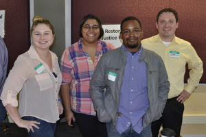Restorative Justice Project students Lexi Keyes, Anjali Patel and Brandon Tillman with RJP Director Jonathan Scharrer