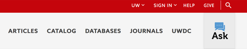 navigation bar with articles, catalog, databases, journal, uwdc, ask uw