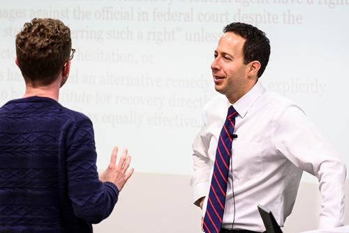 UW Law student talking to Professor Yablon